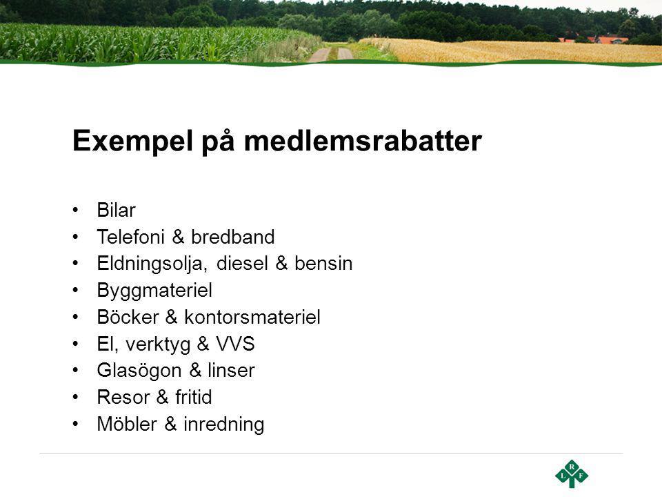 Exempel på medlemsrabatter Bilar Telefoni & bredband Eldningsolja, diesel & bensin Byggmateriel Böcker & kontorsmateriel El, verktyg & VVS Glasögon &