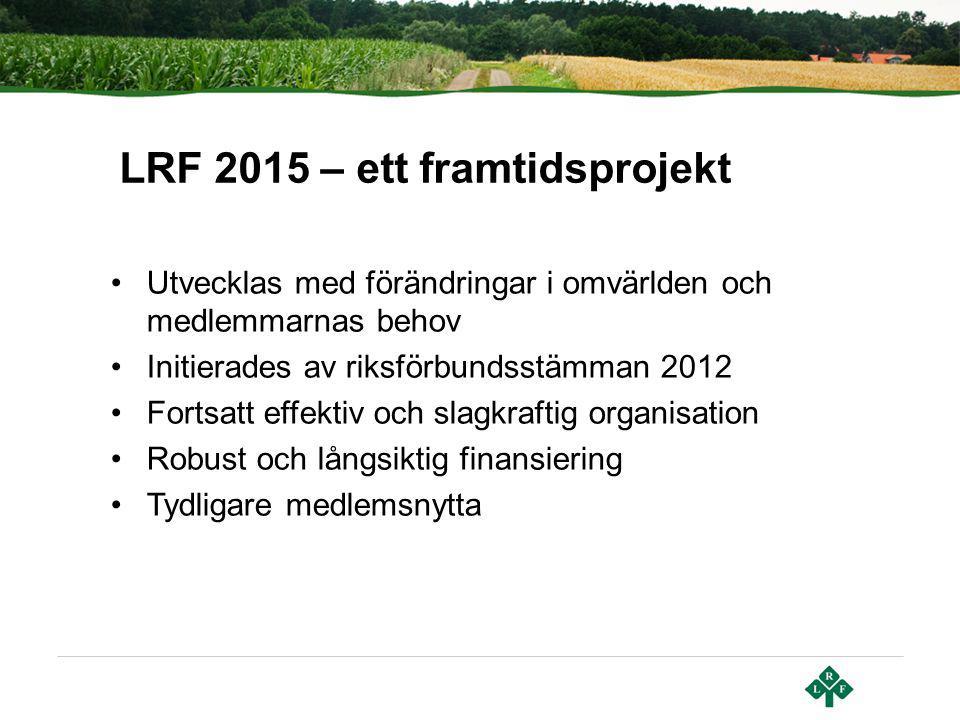 Utvecklas med förändringar i omvärlden och medlemmarnas behov Initierades av riksförbundsstämman 2012 Fortsatt effektiv och slagkraftig organisation R