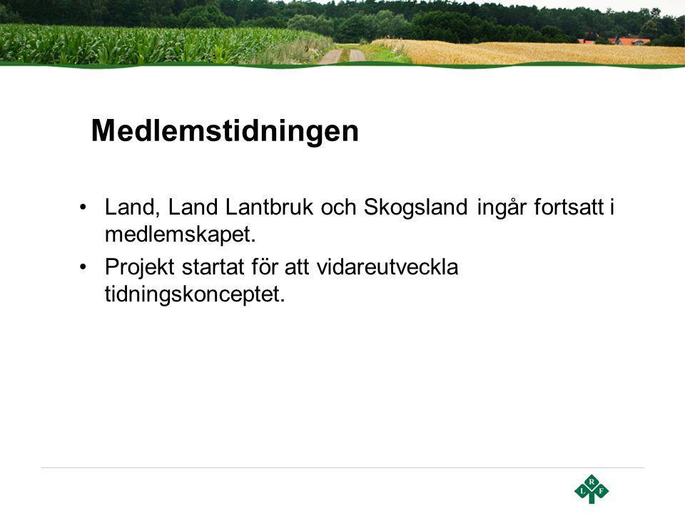Land, Land Lantbruk och Skogsland ingår fortsatt i medlemskapet. Projekt startat för att vidareutveckla tidningskonceptet. Medlemstidningen