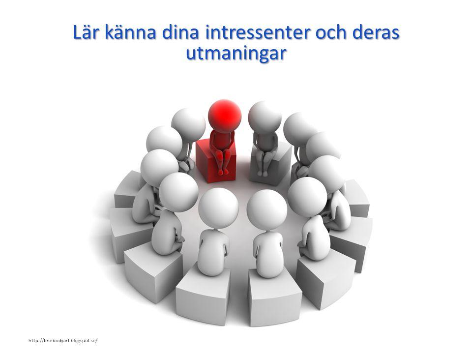 Lär känna dina intressenter och deras utmaningar http://finebodyart.blogspot.se/