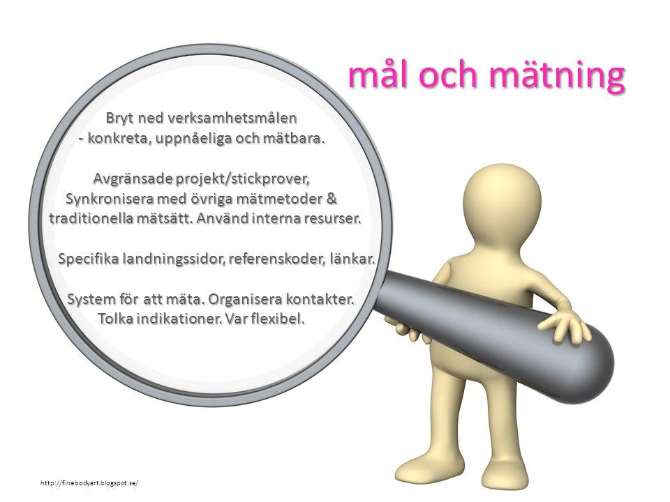 Bryt ned verksamhetsmålen - konkreta, uppnåeliga och mätbara. Avgränsade projekt/stickprover, Synkronisera med övriga mätmetoder & traditionella mätsä