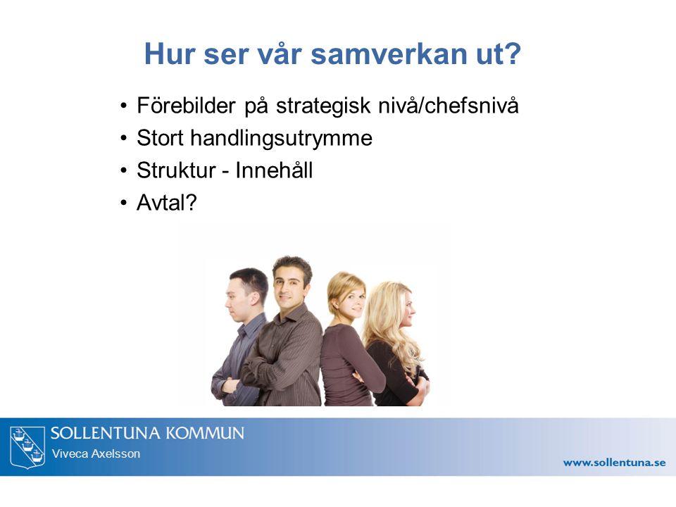 Viveca Axelsson Hur ser vår samverkan ut? Förebilder på strategisk nivå/chefsnivå Stort handlingsutrymme Struktur - Innehåll Avtal?