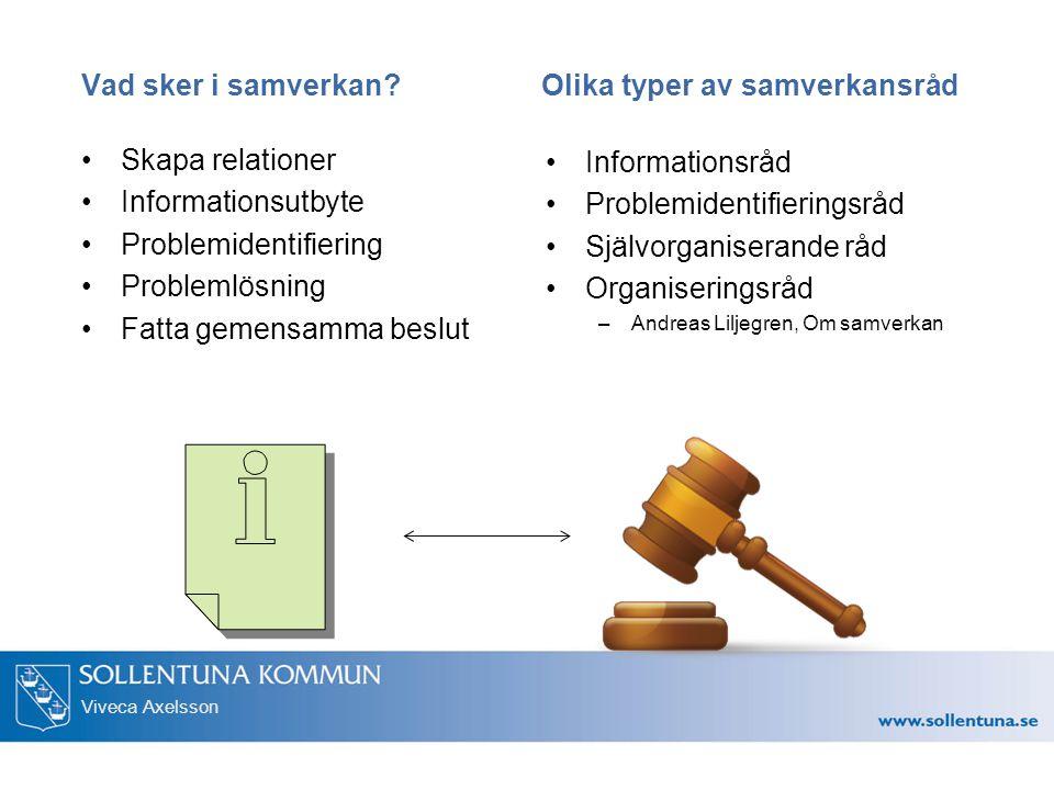 Viveca Axelsson Vad sker i samverkan? Olika typer av samverkansråd Skapa relationer Informationsutbyte Problemidentifiering Problemlösning Fatta gemen
