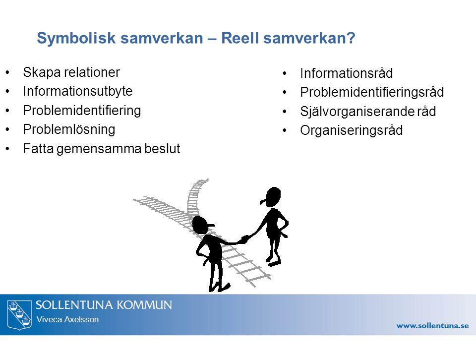 Viveca Axelsson Symbolisk samverkan – Reell samverkan? Skapa relationer Informationsutbyte Problemidentifiering Problemlösning Fatta gemensamma beslut