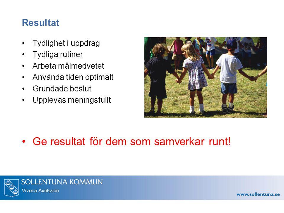 Viveca Axelsson Resultat Tydlighet i uppdrag Tydliga rutiner Arbeta målmedvetet Använda tiden optimalt Grundade beslut Upplevas meningsfullt Ge resultat för dem som samverkar runt!