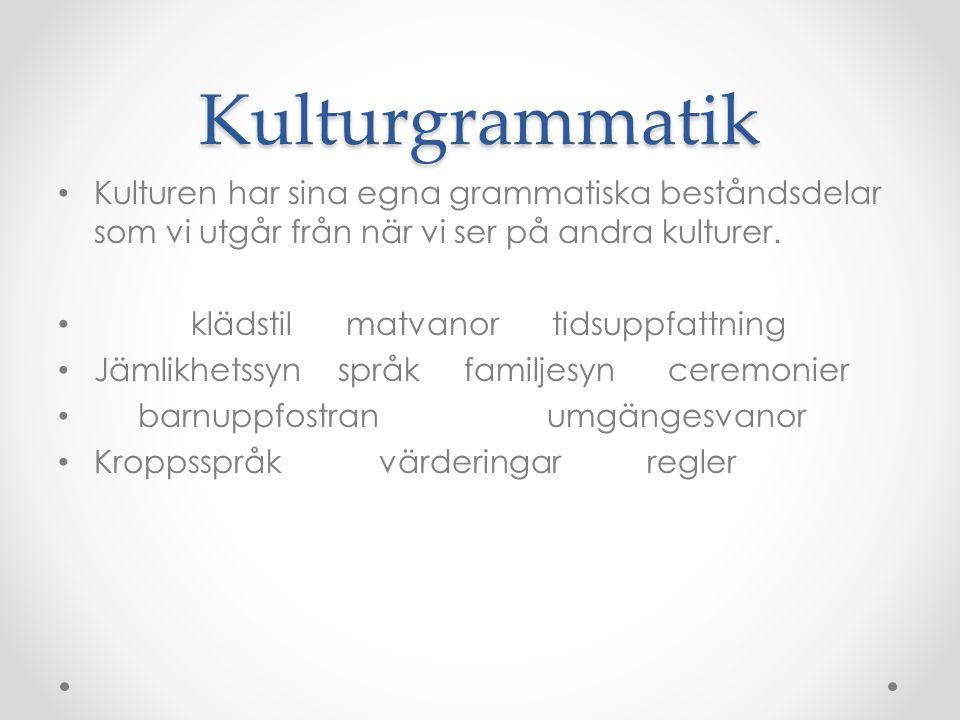 Kulturgrammatik Kulturen har sina egna grammatiska beståndsdelar som vi utgår från när vi ser på andra kulturer.