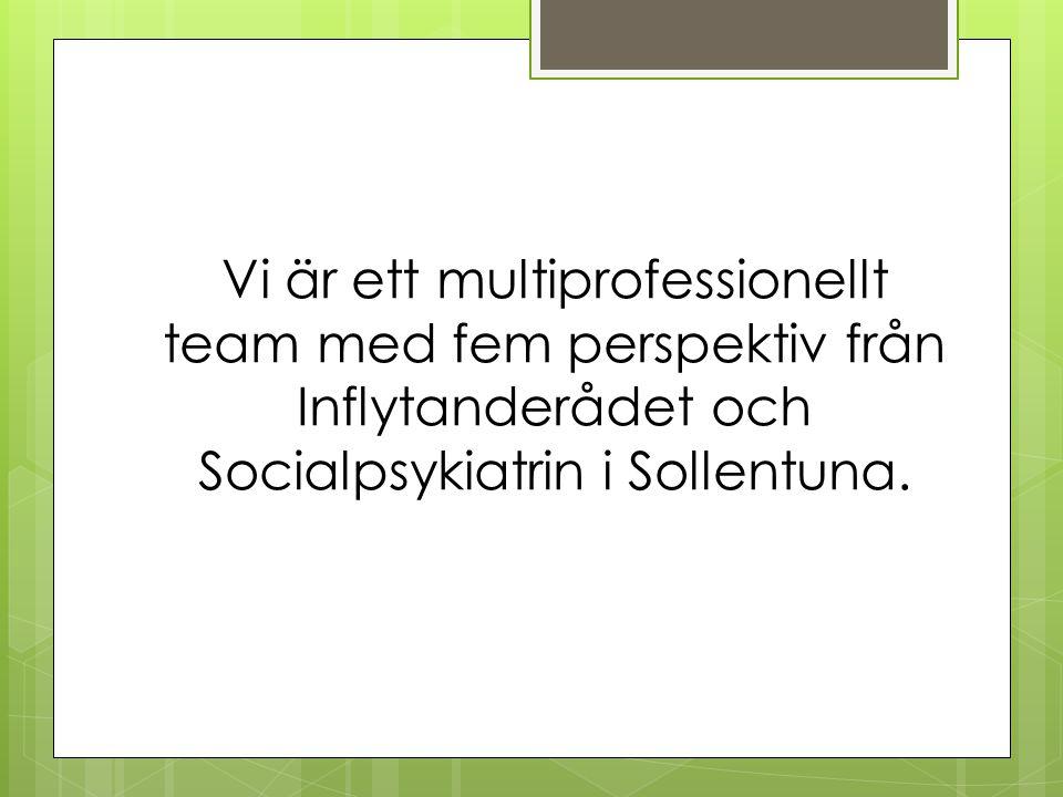 Vi är ett multiprofessionellt team med fem perspektiv från Inflytanderådet och Socialpsykiatrin i Sollentuna.