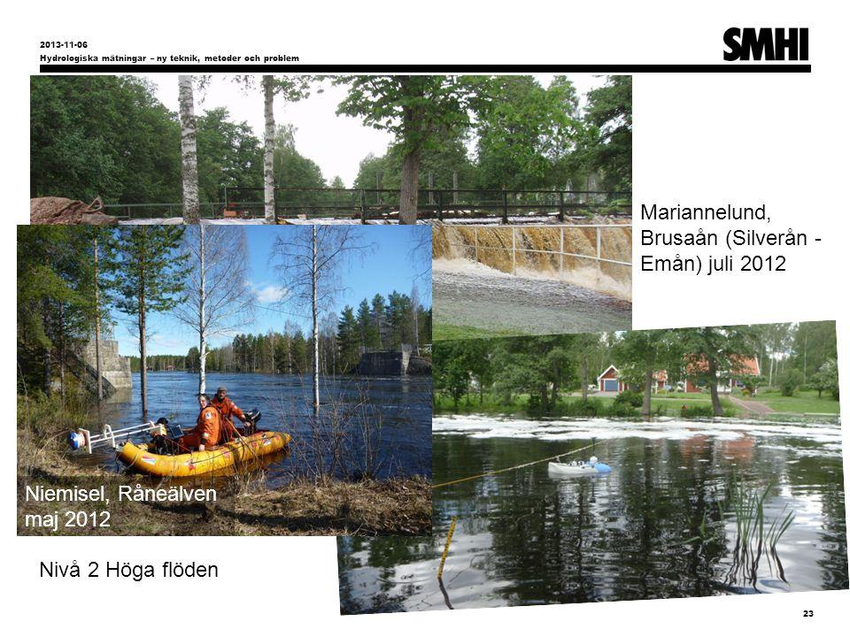 Hydrologiska mätningar – ny teknik, metoder och problem 23 2013-11-06 Nivå 2 Höga flöden Mariannelund, Brusaån (Silverån - Emån) juli 2012 Niemisel, Råneälven maj 2012