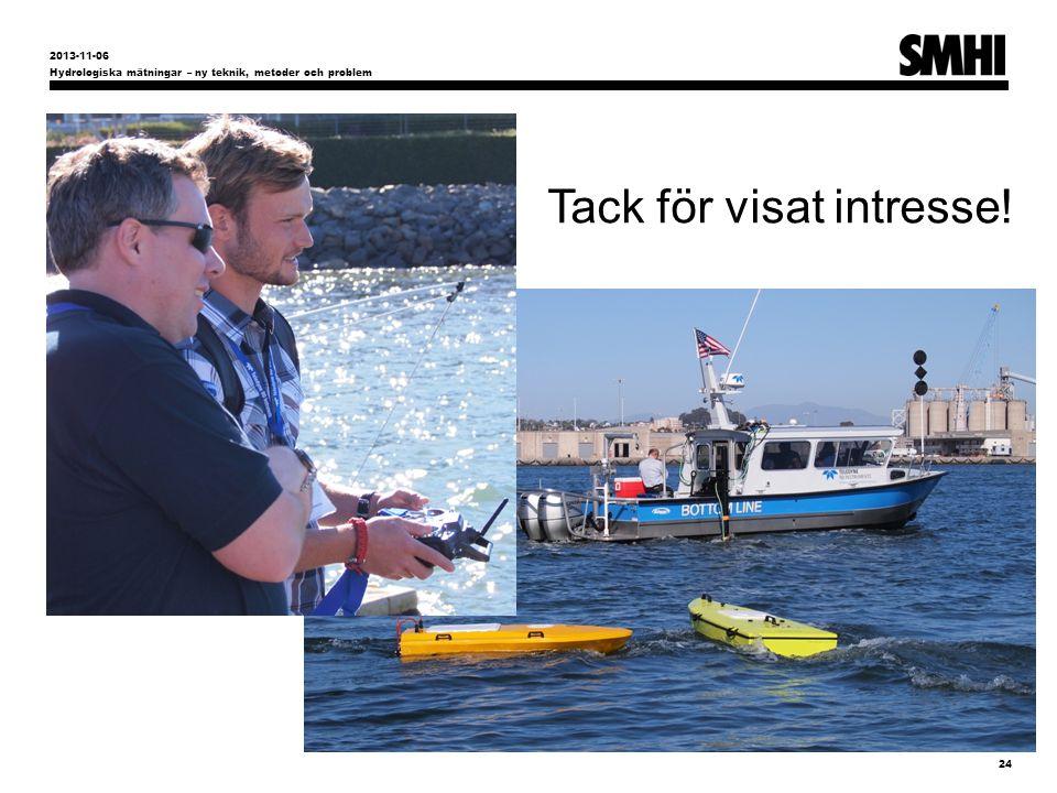 Hydrologiska mätningar – ny teknik, metoder och problem 24 2013-11-06 Tack för visat intresse!