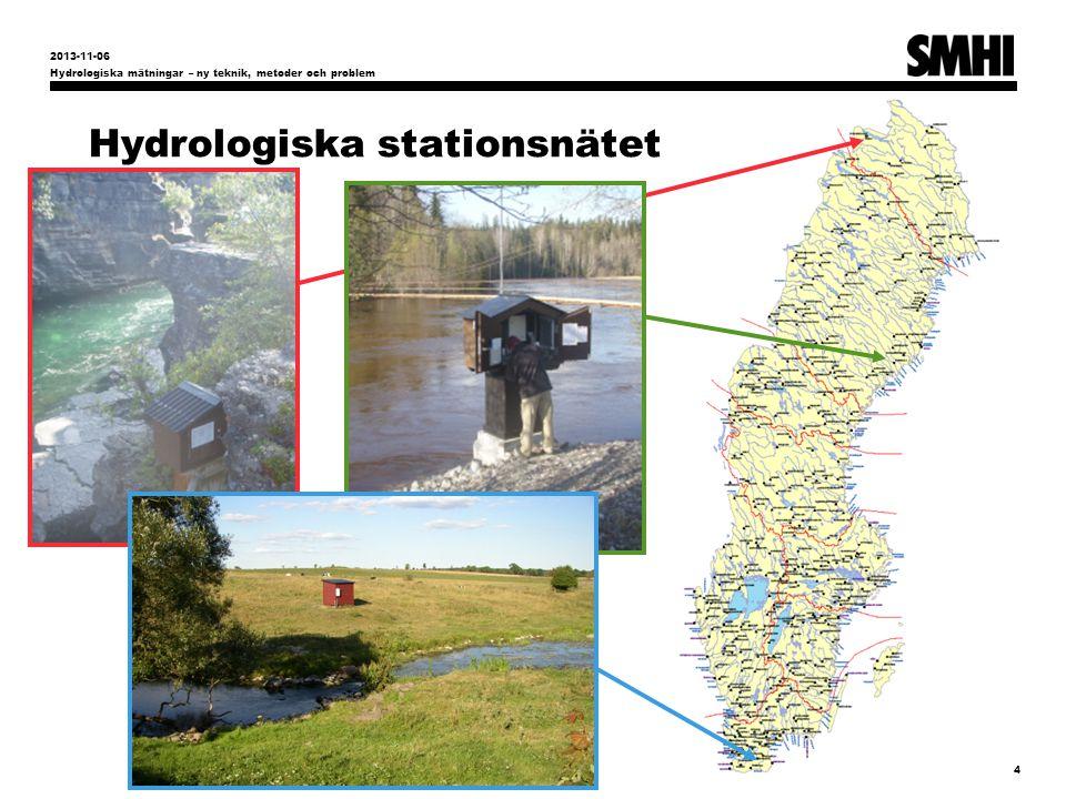 Hydrologiska stationsnätet Hydrologiska mätningar – ny teknik, metoder och problem 4 2013-11-06