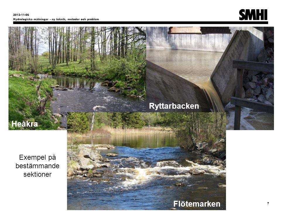 Exempel på bestämmande sektioner Hydrologiska mätningar – ny teknik, metoder och problem 7 2013-11-06 Flötemarken Ryttarbacken Heåkra