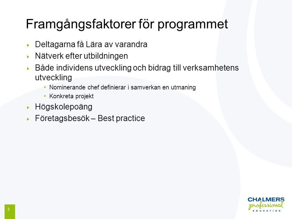 Framgångsfaktorer för programmet 3 Deltagarna få Lära av varandra Nätverk efter utbildningen Både individens utveckling och bidrag till verksamhetens