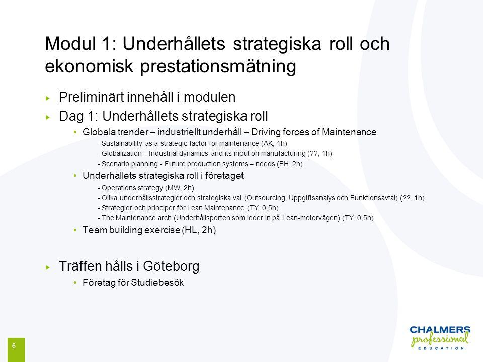 Modul 1: Underhållets strategiska roll och ekonomisk prestationsmätning 6 Preliminärt innehåll i modulen Dag 1: Underhållets strategiska roll Globala