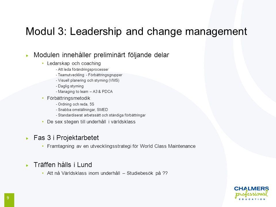 Modul 3: Leadership and change management 9 Modulen innehåller preliminärt följande delar Ledarskap och coaching - Att leda förändringsprocesser - Tea