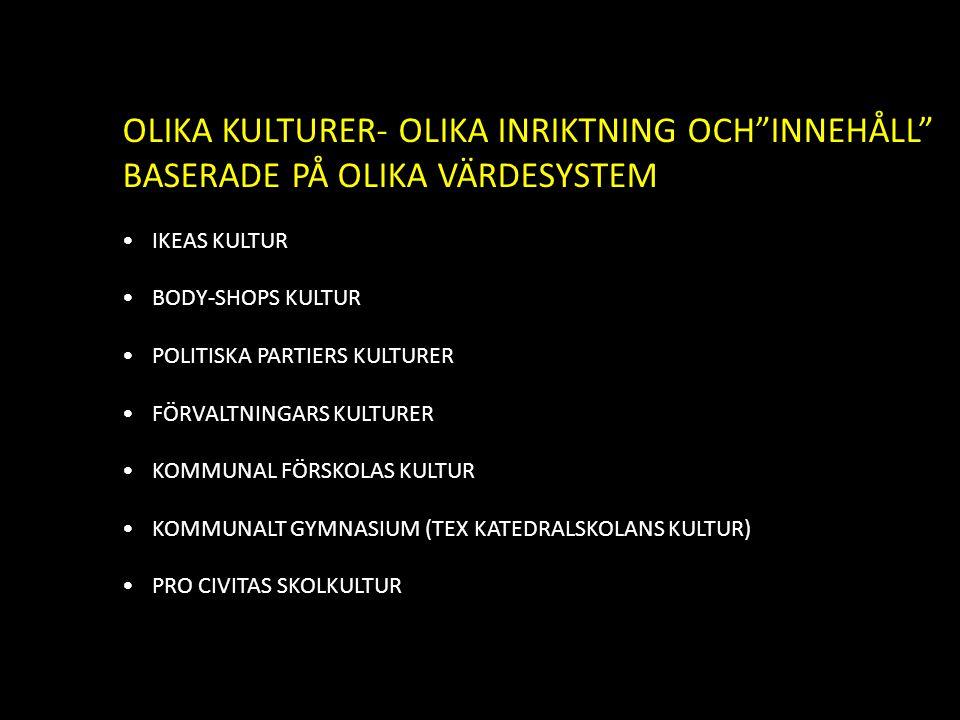 """OLIKA KULTURER- OLIKA INRIKTNING OCH""""INNEHÅLL"""" BASERADE PÅ OLIKA VÄRDESYSTEM IKEAS KULTUR BODY-SHOPS KULTUR POLITISKA PARTIERS KULTURER FÖRVALTNINGARS"""