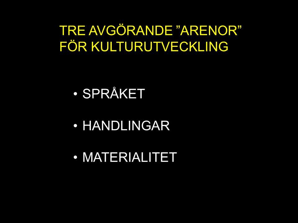 """TRE AVGÖRANDE """"ARENOR"""" FÖR KULTURUTVECKLING SPRÅKET HANDLINGAR MATERIALITET"""