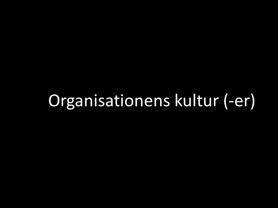 Organisationens kultur (-er)