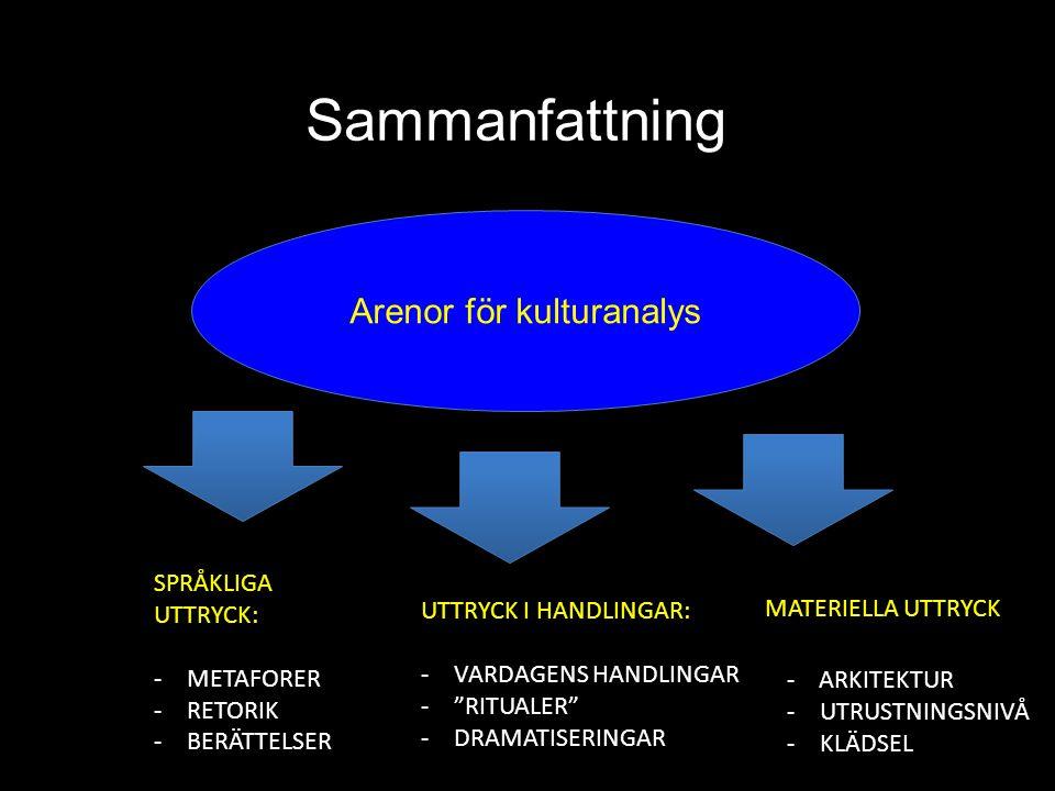 """Sammanfattning Arenor för kulturanalys SPRÅKLIGA UTTRYCK: -METAFORER -RETORIK -BERÄTTELSER UTTRYCK I HANDLINGAR: -VARDAGENS HANDLINGAR -""""RITUALER"""" -DR"""