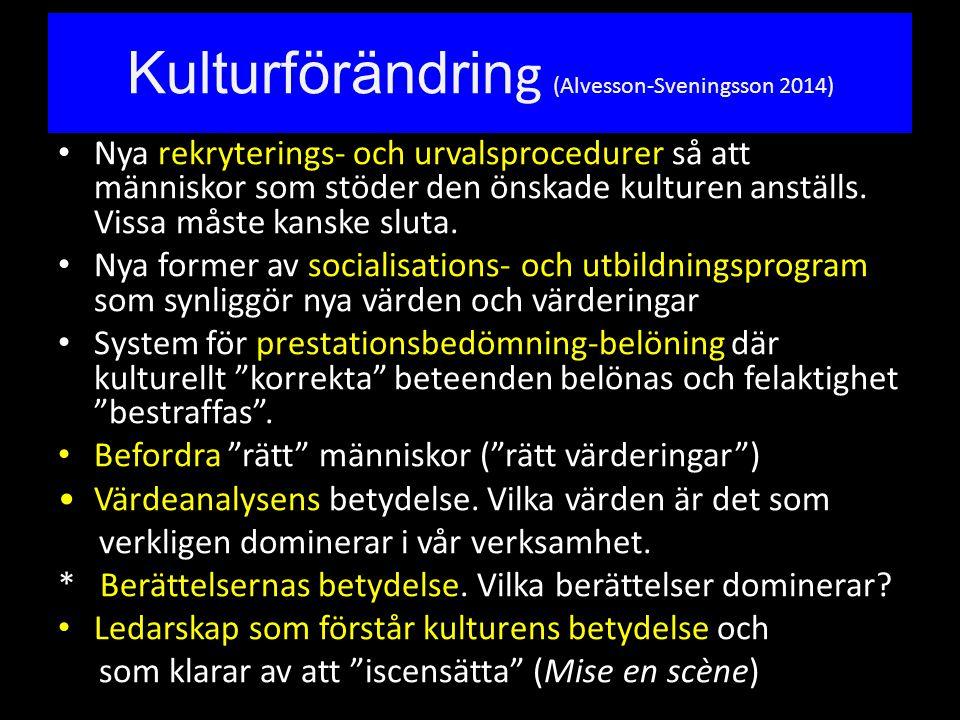 Kulturförändrin g (Alvesson-Sveningsson 2014) Nya rekryterings- och urvalsprocedurer så att människor som stöder den önskade kulturen anställs. Vissa
