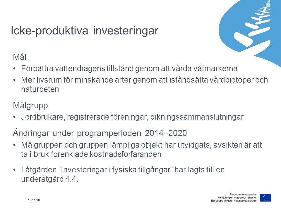 Icke-produktiva investeringar Mål Förbättra vattendragens tillstånd genom att vårda våtmarkerna Mer livsrum för minskande arter genom att iståndsätta vårdbiotoper och naturbeten Målgrupp Jordbrukare, registrerade föreningar, dikningssammanslutningar Ändringar under programperioden 2014–2020 Målgruppen och gruppen lämpliga objekt har utvidgats, avsikten är att ta i bruk förenklade kostnadsförfaranden I åtgärden Investeringar i fysiska tillgångar har lagts till en underåtgärd 4.4.