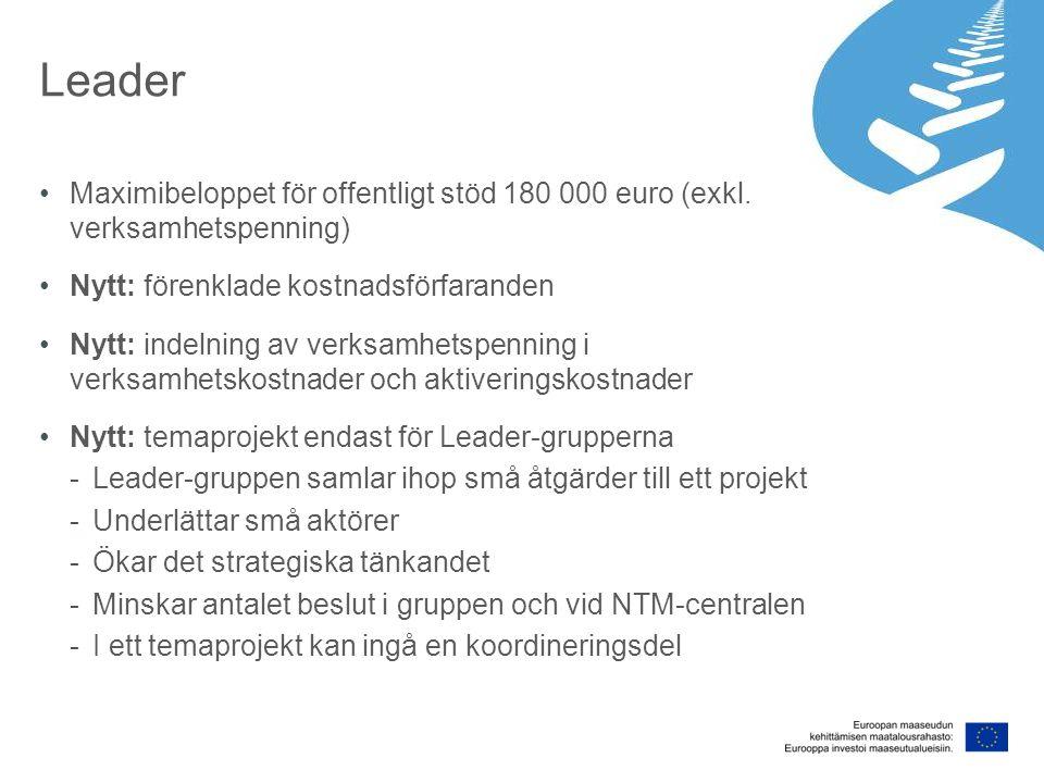 Leader Maximibeloppet för offentligt stöd 180 000 euro (exkl. verksamhetspenning) Nytt: förenklade kostnadsförfaranden Nytt: indelning av verksamhetsp