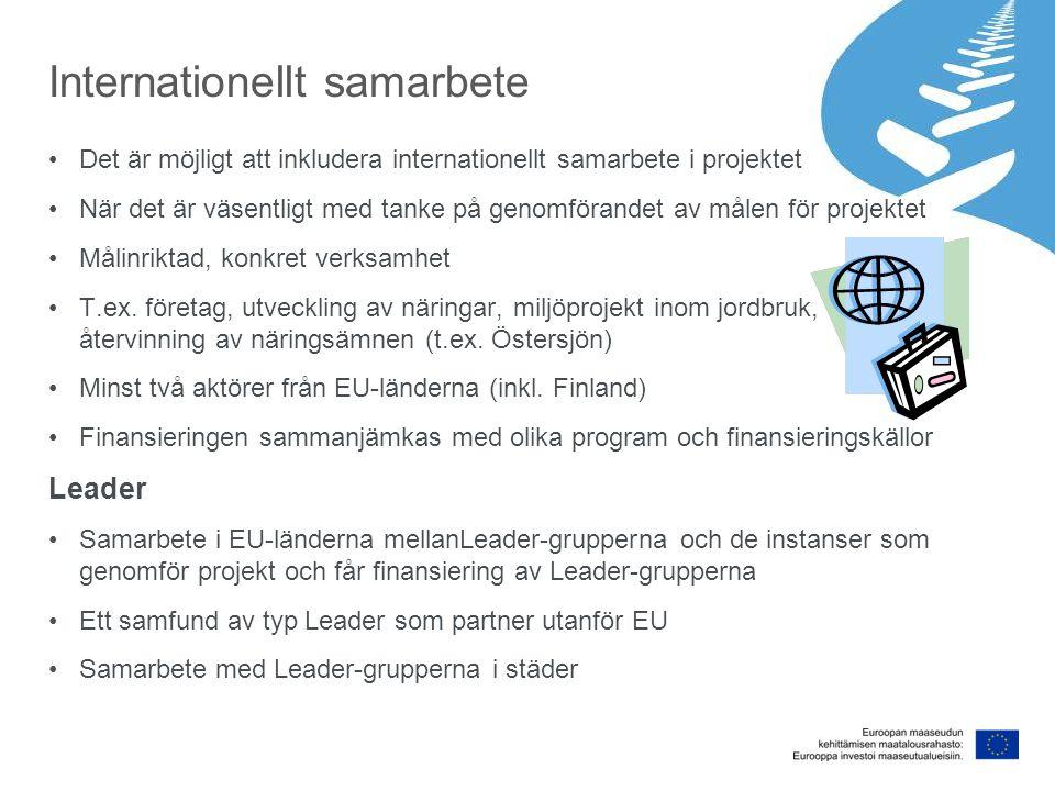 Internationellt samarbete Det är möjligt att inkludera internationellt samarbete i projektet När det är väsentligt med tanke på genomförandet av målen för projektet Målinriktad, konkret verksamhet T.ex.