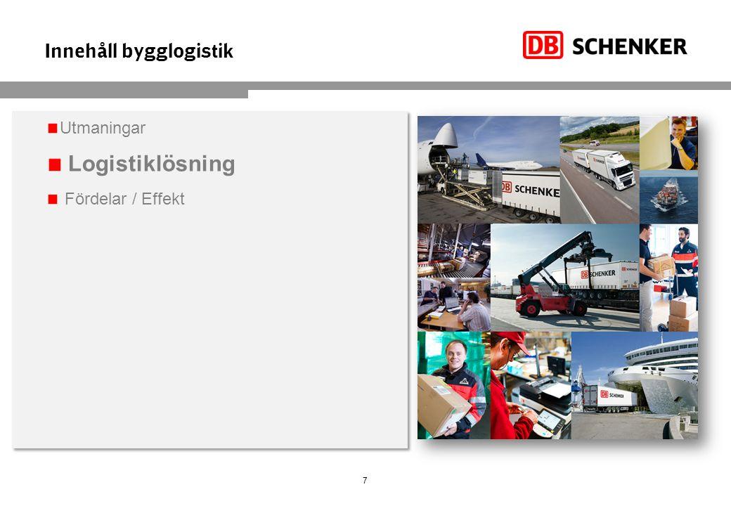 Innehåll bygglogistik 7 Utmaningar Logistiklösning Fördelar / Effekt Utmaningar Logistiklösning Fördelar / Effekt