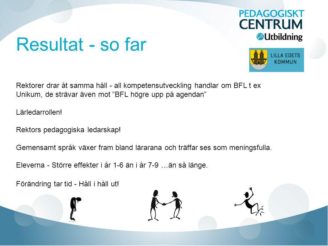 """Resultat - so far Rektorer drar åt samma håll - all kompetensutveckling handlar om BFL t ex Unikum, de strävar även mot """"BFL högre upp på agendan"""" Lär"""