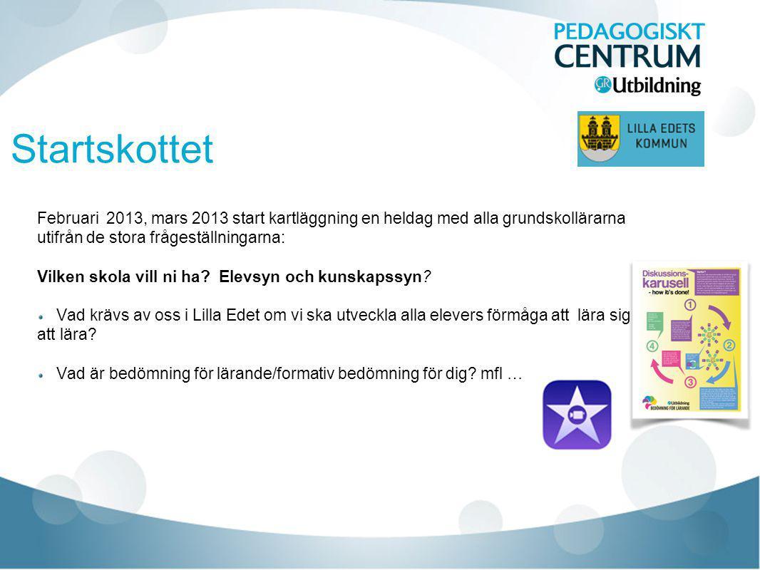 Startskottet Februari 2013, mars 2013 start kartläggning en heldag med alla grundskollärarna utifrån de stora frågeställningarna: Vilken skola vill ni