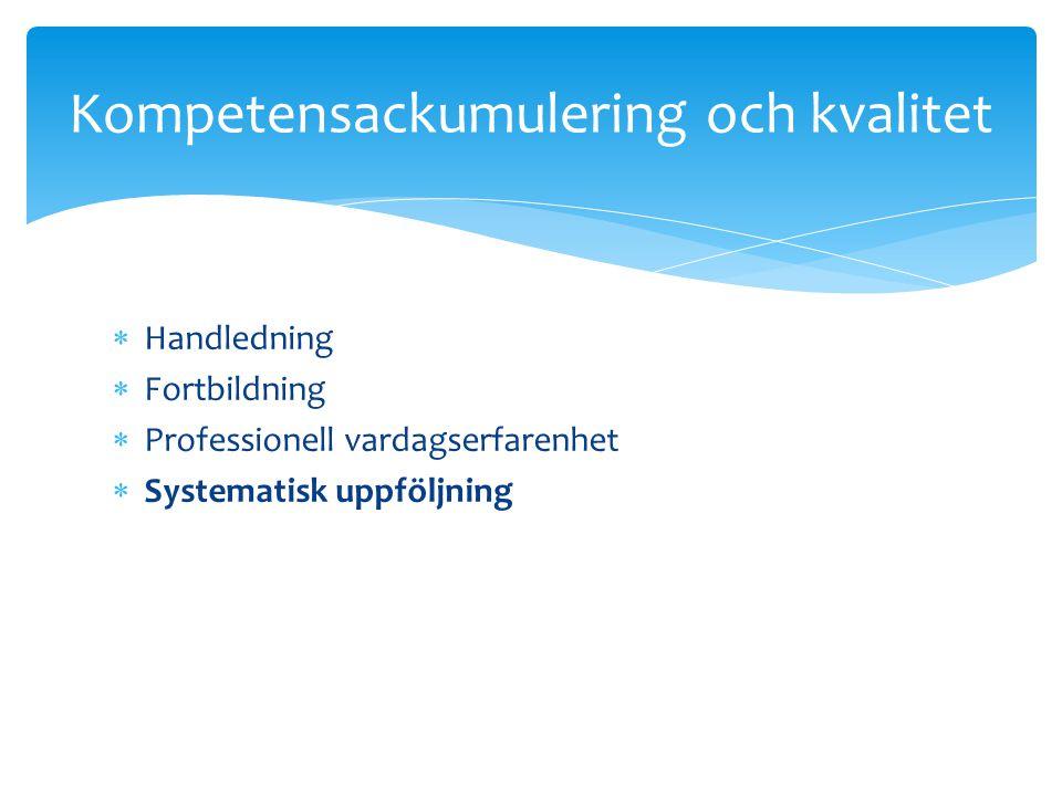  Handledning  Fortbildning  Professionell vardagserfarenhet  Systematisk uppföljning Kompetensackumulering och kvalitet