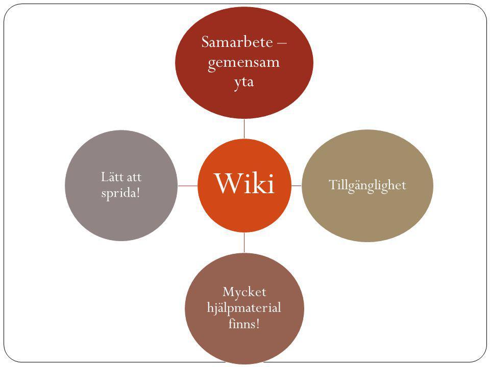 Wiki Samarbete – gemensam yta Tillgänglighet Mycket hjälpmaterial finns! Lätt att sprida!