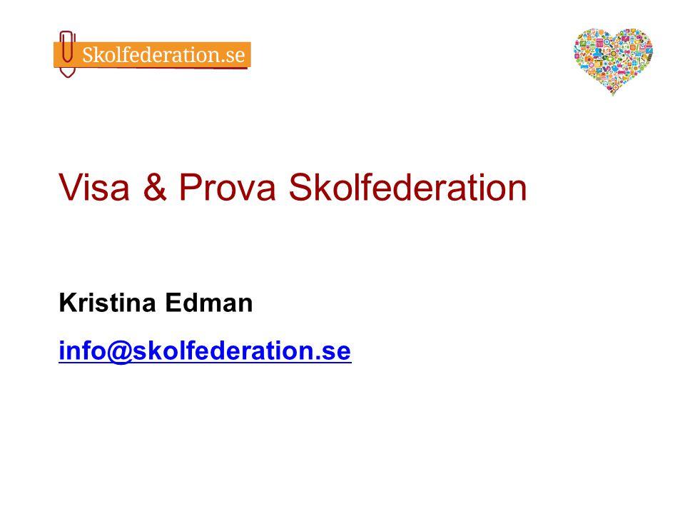 Visa & Prova Skolfederation Kristina Edman info@skolfederation.se