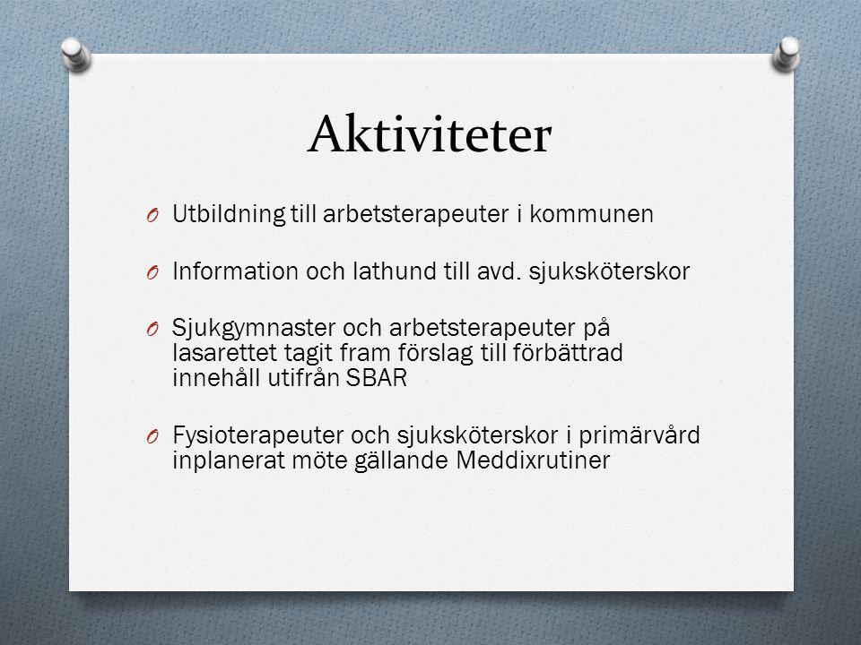 Aktiviteter O Utbildning till arbetsterapeuter i kommunen O Information och lathund till avd.