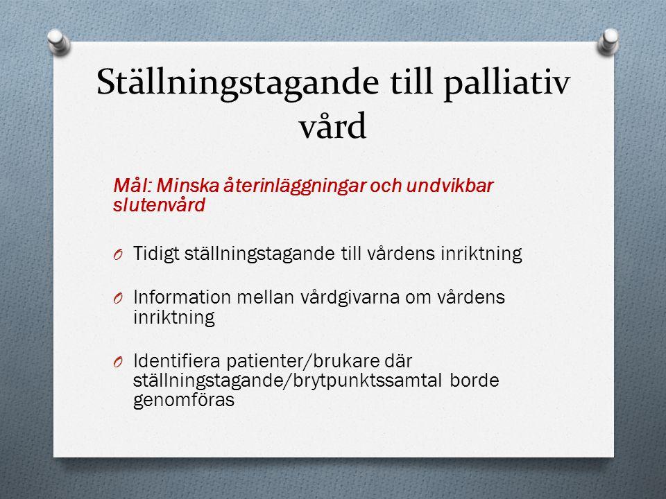 Ställningstagande till palliativ vård Mål: Minska återinläggningar och undvikbar slutenvård O Tidigt ställningstagande till vårdens inriktning O Infor