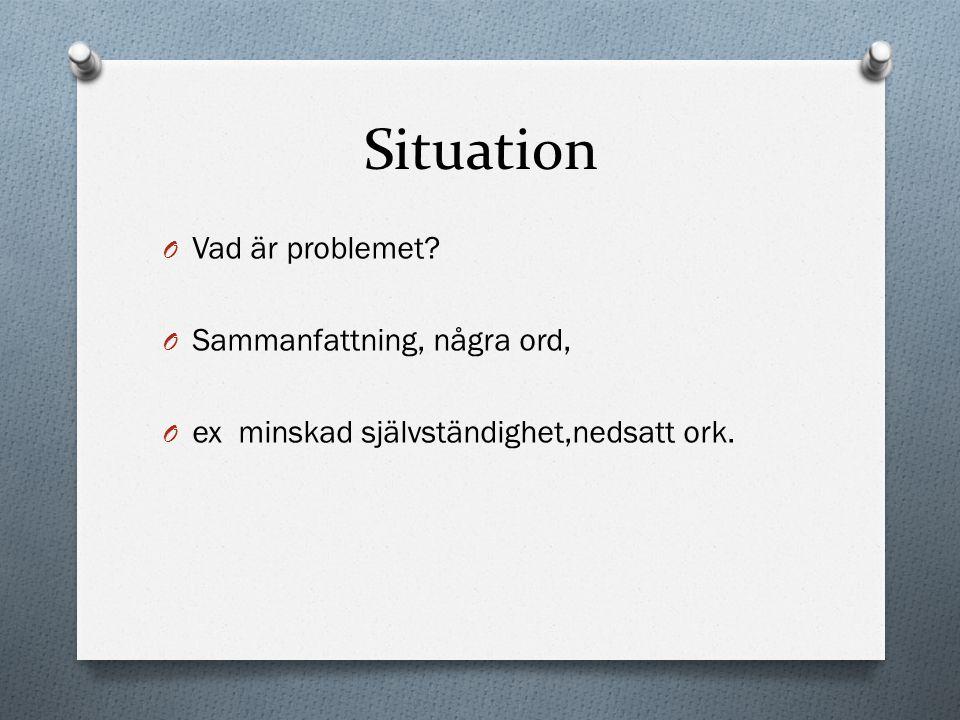 Situation O Vad är problemet? O Sammanfattning, några ord, O ex minskad självständighet,nedsatt ork.
