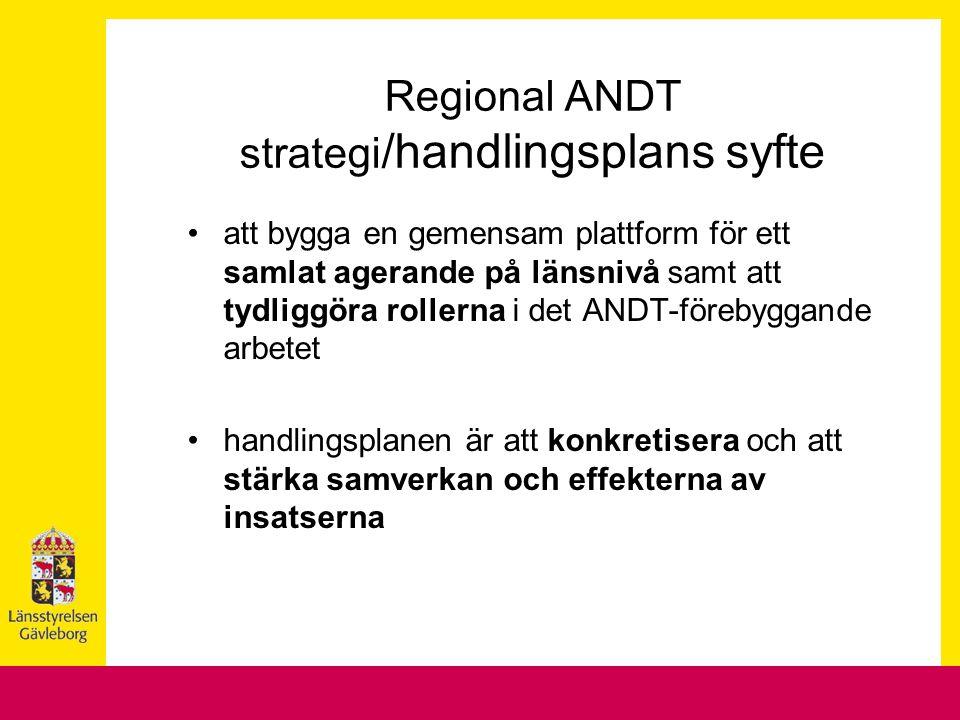 Regional ANDT strategi /handlingsplans syfte att bygga en gemensam plattform för ett samlat agerande på länsnivå samt att tydliggöra rollerna i det AN