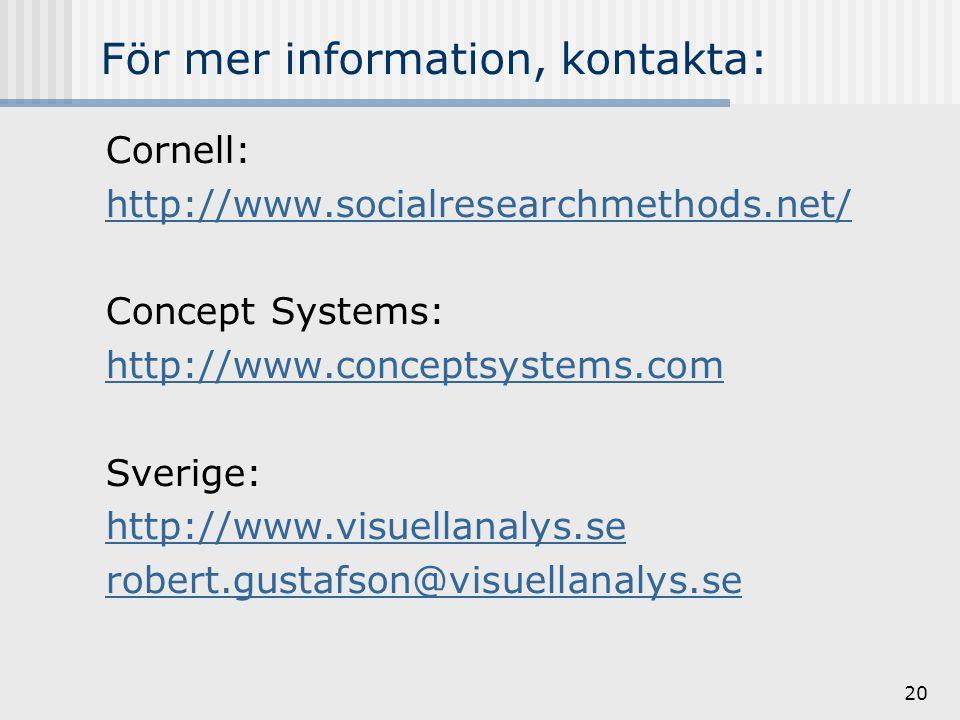 20 För mer information, kontakta: Cornell: http://www.socialresearchmethods.net/ Concept Systems: http://www.conceptsystems.com Sverige: http://www.visuellanalys.se robert.gustafson@visuellanalys.se
