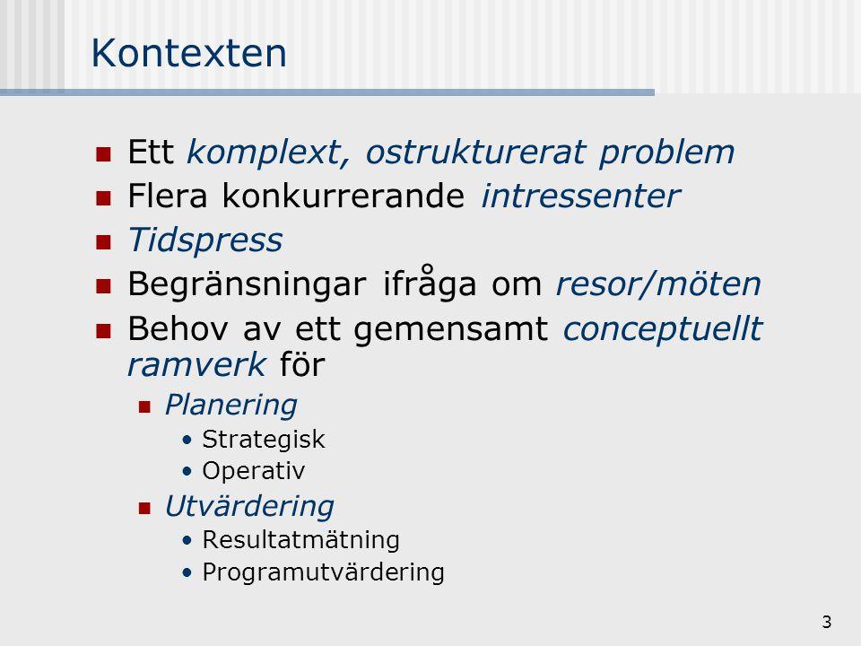 3 Kontexten Ett komplext, ostrukturerat problem Flera konkurrerande intressenter Tidspress Begränsningar ifråga om resor/möten Behov av ett gemensamt conceptuellt ramverk för Planering Strategisk Operativ Utvärdering Resultatmätning Programutvärdering