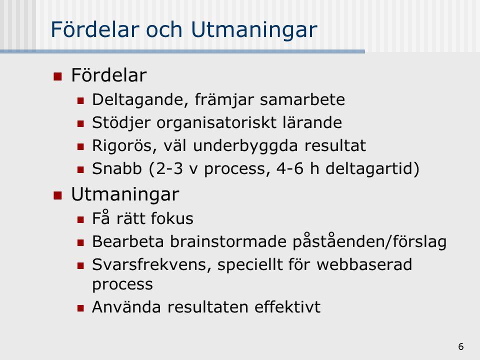 6 Fördelar och Utmaningar Fördelar Deltagande, främjar samarbete Stödjer organisatoriskt lärande Rigorös, väl underbyggda resultat Snabb (2-3 v process, 4-6 h deltagartid) Utmaningar Få rätt fokus Bearbeta brainstormade påståenden/förslag Svarsfrekvens, speciellt för webbaserad process Använda resultaten effektivt