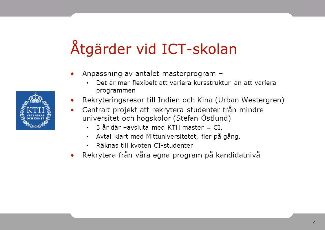 2 Åtgärder vid ICT-skolan Anpassning av antalet masterprogram – Det är mer flexibelt att variera kursstruktur än att variera programmen Rekryteringsre