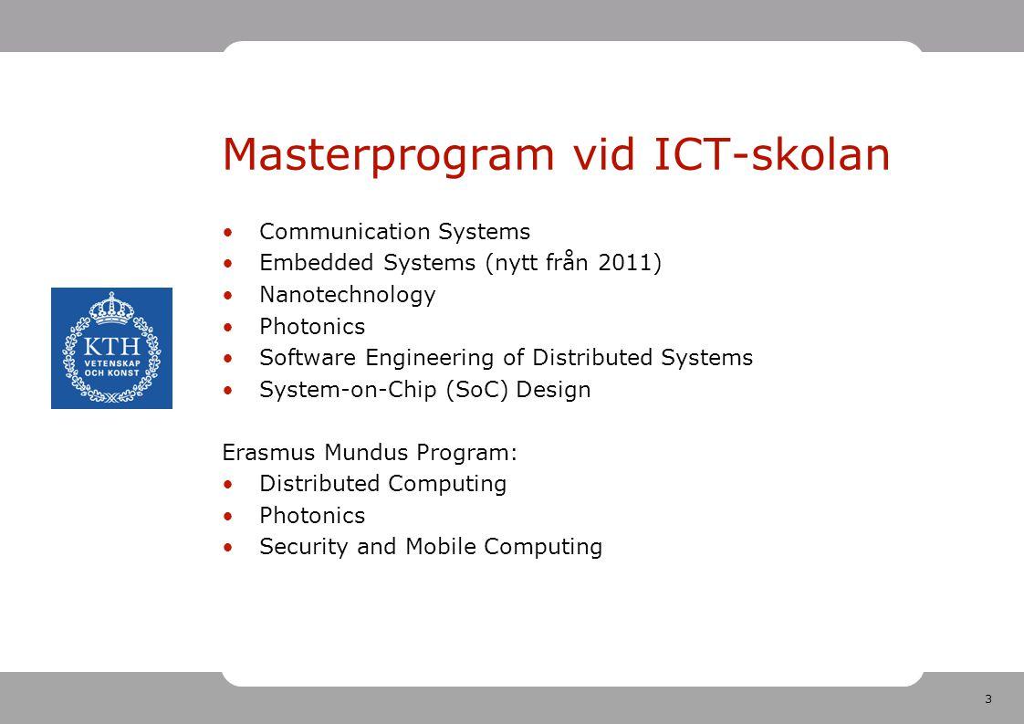 3 Masterprogram vid ICT-skolan Communication Systems Embedded Systems (nytt från 2011) Nanotechnology Photonics Software Engineering of Distributed Sy