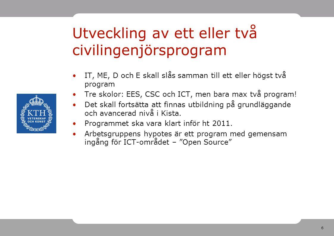 6 Utveckling av ett eller två civilingenjörsprogram IT, ME, D och E skall slås samman till ett eller högst två program Tre skolor: EES, CSC och ICT, men bara max två program.