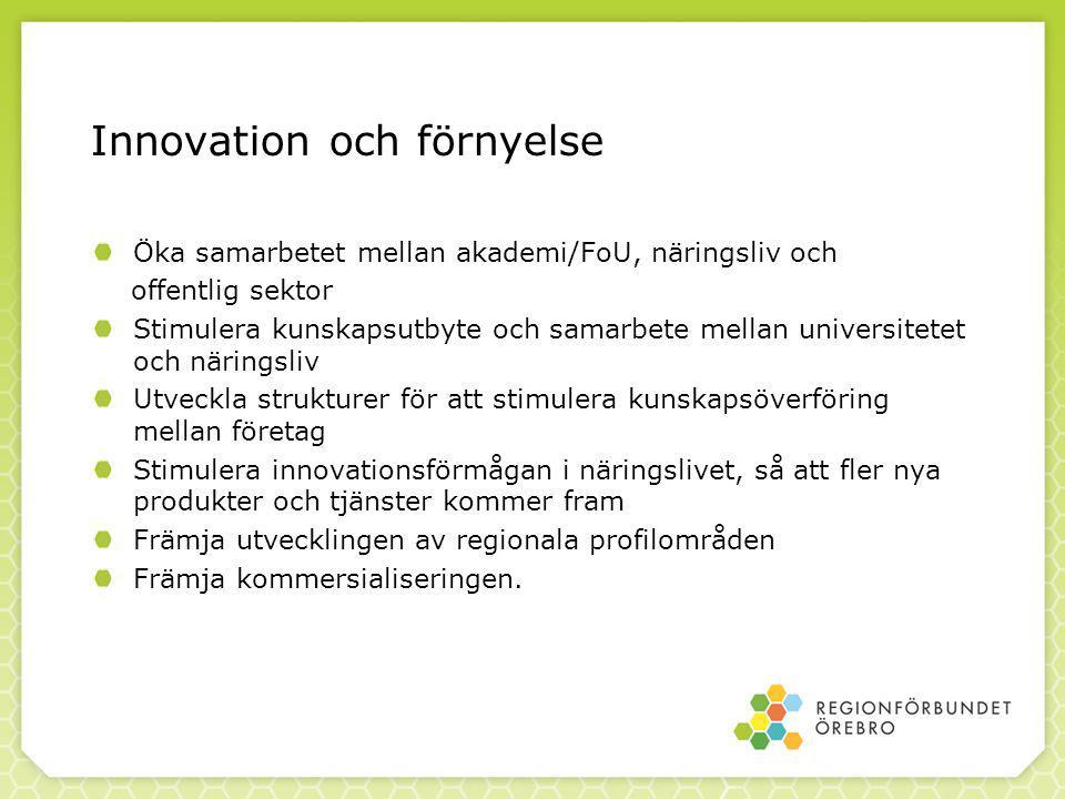 Innovation och förnyelse Öka samarbetet mellan akademi/FoU, näringsliv och offentlig sektor Stimulera kunskapsutbyte och samarbete mellan universitetet och näringsliv Utveckla strukturer för att stimulera kunskapsöverföring mellan företag Stimulera innovationsförmågan i näringslivet, så att fler nya produkter och tjänster kommer fram Främja utvecklingen av regionala profilområden Främja kommersialiseringen.