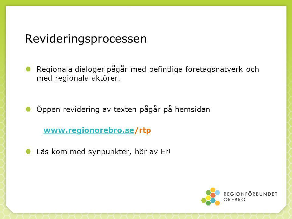 Revideringsprocessen Regionala dialoger pågår med befintliga företagsnätverk och med regionala aktörer.