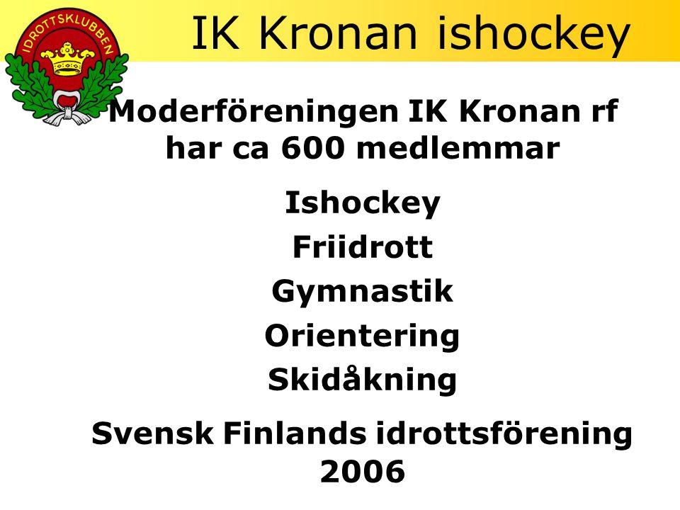 IK Kronan ishockey Moderföreningen IK Kronan rf har ca 600 medlemmar Ishockey Friidrott Gymnastik Orientering Skidåkning Svensk Finlands idrottsförening 2006