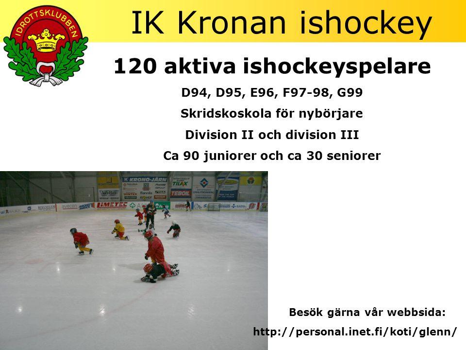 IK Kronan ishockey 120 aktiva ishockeyspelare D94, D95, E96, F97-98, G99 Skridskoskola för nybörjare Division II och division III Ca 90 juniorer och ca 30 seniorer http://personal.inet.fi/koti/glenn/ Besök gärna vår webbsida: