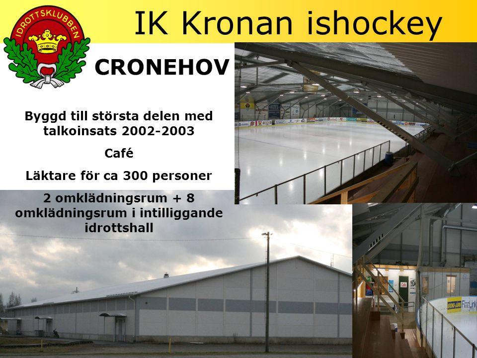 IK Kronan ishockey CRONEHOV Byggd till största delen med talkoinsats 2002-2003 Café Läktare för ca 300 personer 2 omklädningsrum + 8 omklädningsrum i intilliggande idrottshall