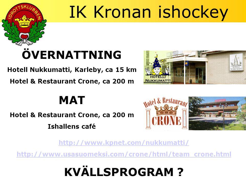 ÖVERNATTNING Hotell Nukkumatti, Karleby, ca 15 km Hotel & Restaurant Crone, ca 200 m MAT Hotel & Restaurant Crone, ca 200 m Ishallens café http://www.kpnet.com/nukkumatti/ http://www.usasuomeksi.com/crone/html/team_crone.html KVÄLLSPROGRAM