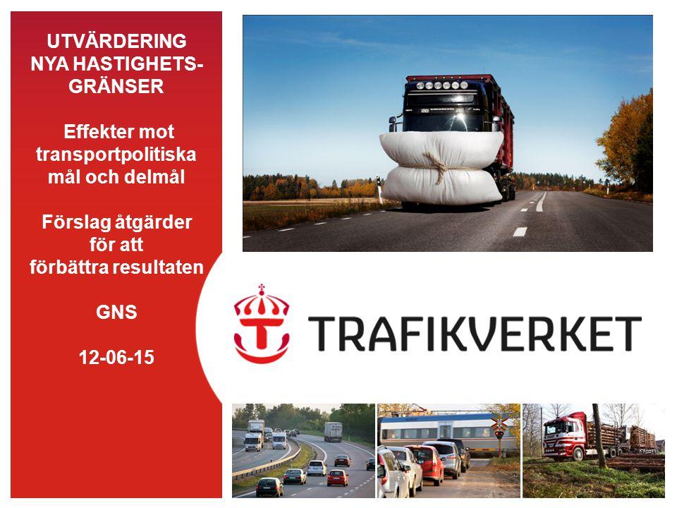 UTVÄRDERING NYA HASTIGHETS- GRÄNSER Effekter mot transportpolitiska mål och delmål Förslag åtgärder för att förbättra resultaten GNS 12-06-15