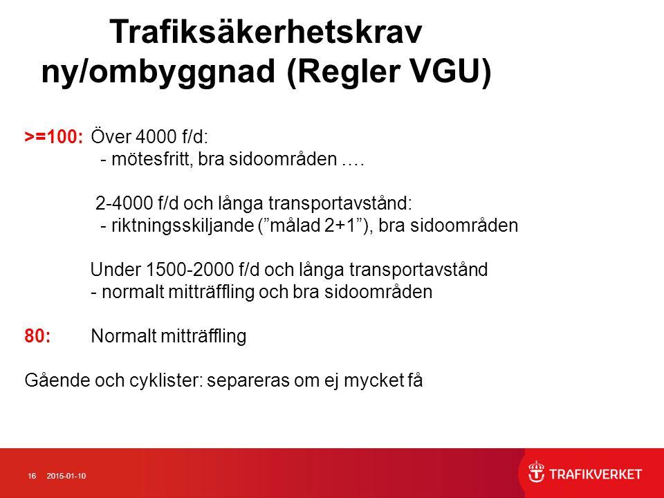 162015-01-10 Trafiksäkerhetskrav ny/ombyggnad (Regler VGU) >=100:Över 4000 f/d: - mötesfritt, bra sidoområden ….